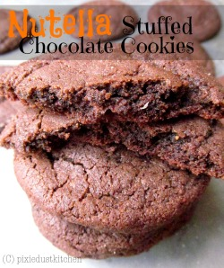 Nutella Stuffed Chocolate Cookies- chewy, brownie-like cookies stuffed with Nutella by Pixie Dust Kitchen